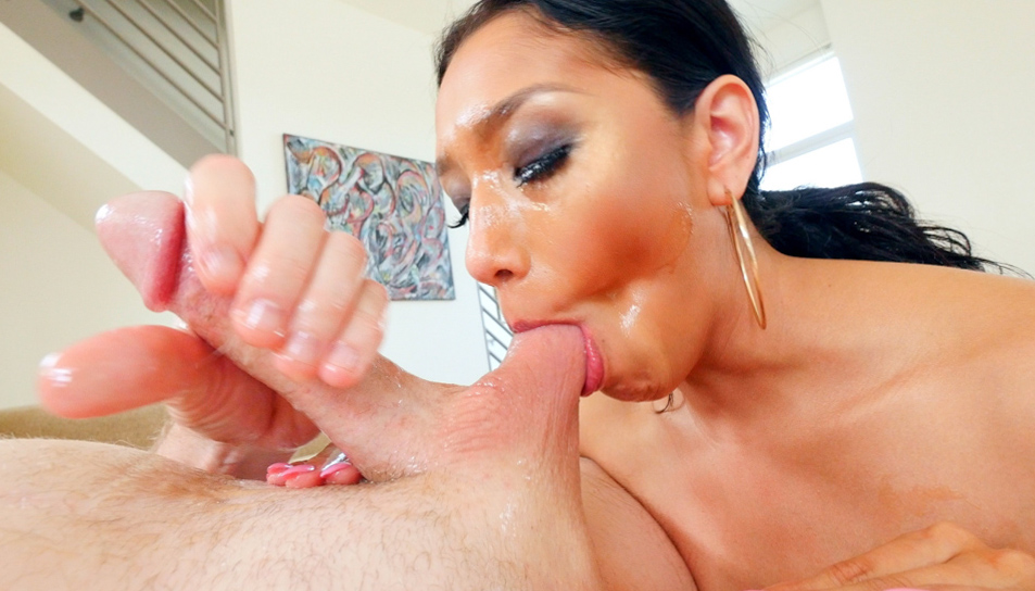 Vicki Chase has wet tricks to suck balls and dick