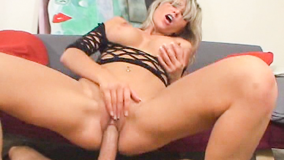 Busty fishnet bombshell blonde rides shaft like a pro !