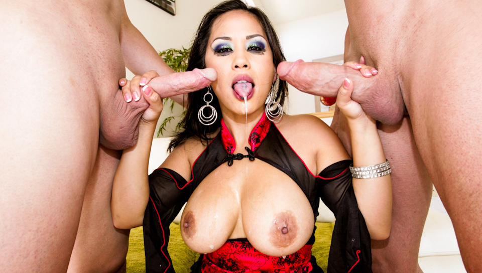 Hot Asian chick gets 6 big hot loads of cum in her sexy face