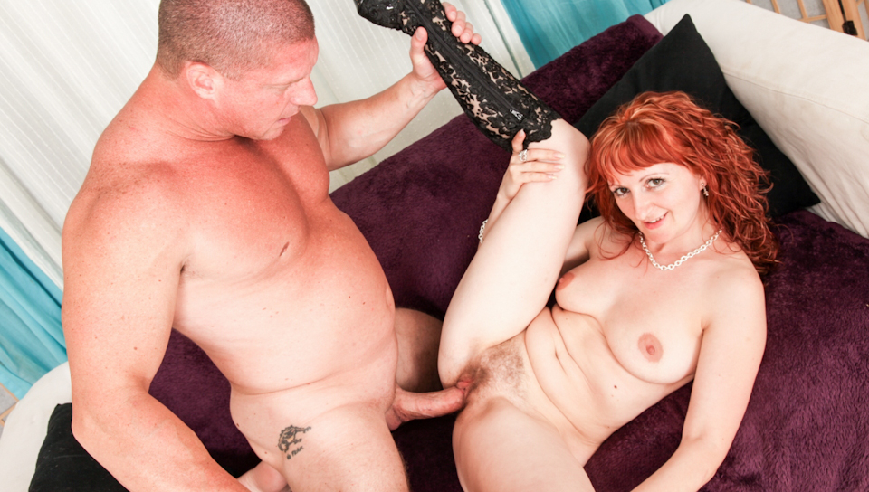 Hairy red headed cunt rides huge dick then gets cream-pied.