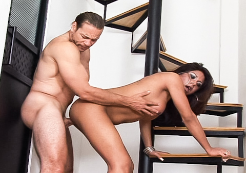 Gorgeous shemale pull her big cock out and gets shagged hard