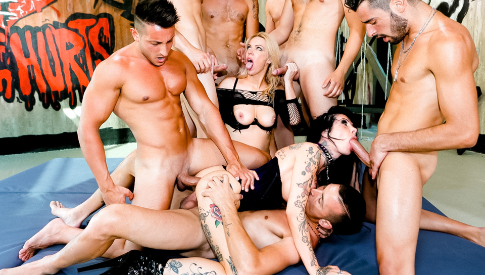 Kelly Stafford directs multiple cocks fucking 2 horny whores