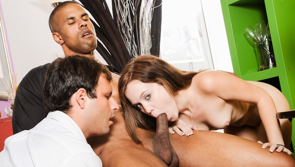 Trinity's boyfriend brings a loser to help her sucking cock