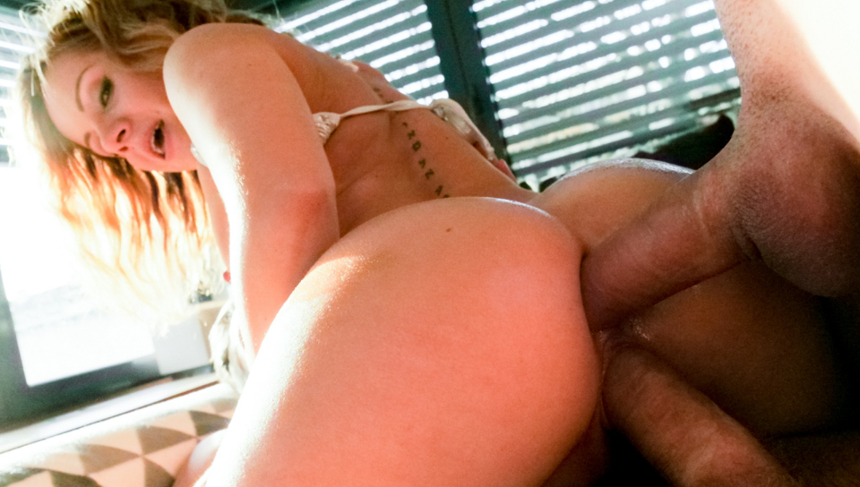 Bubble butt blonde Sasha Zima gets double teamed by 2 studs