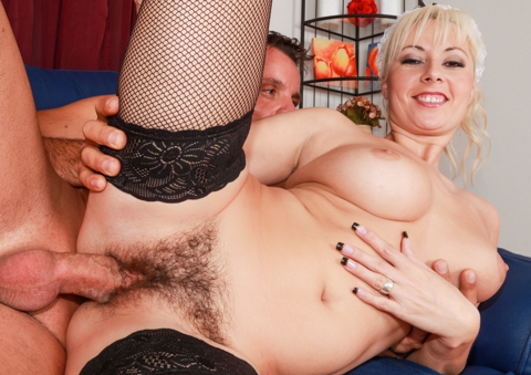 Naughty maid Daria fucked in her wet hairy pussy.