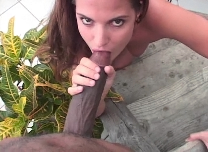 Nasty Brunette Enjoys A Huge Black Cock Inside Her Throat