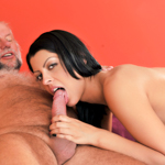 Hot young girl sucks grandpa's cock and then gets fucked
