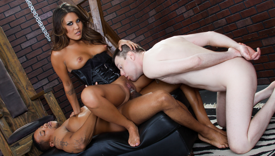 Mena Li fem-dom her slave and cuckolds a black cock!