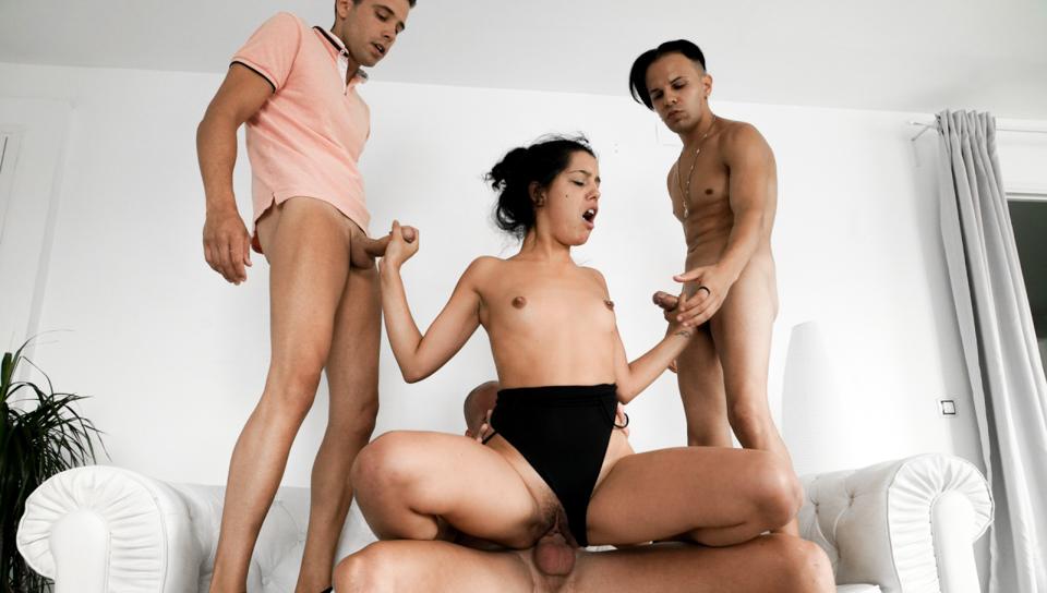 Teen , MILF Karyn: 4-Cock Orgy! - Nacho Vidal & Potro De Bilbao & Karyn Bayres