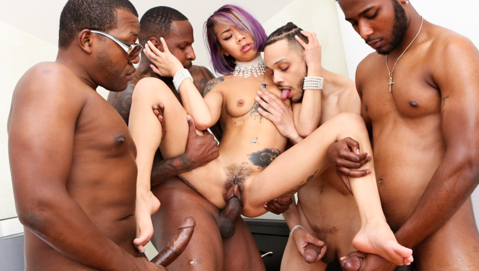 Horny asian Kimberly Chi gets gangbanged by 4 black men