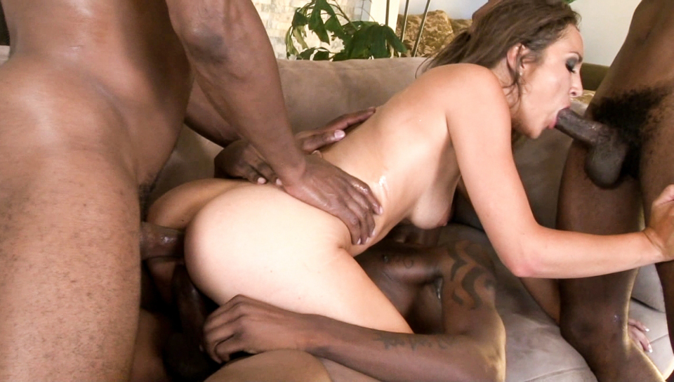 Cute Keira has her tight pussy and ass fucked by black guys.