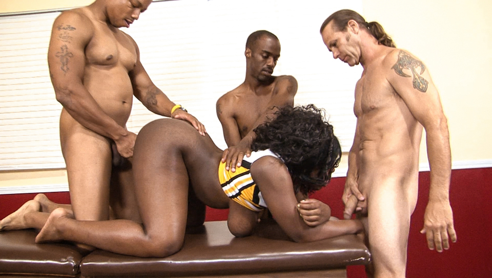 Busty ebony gang bang