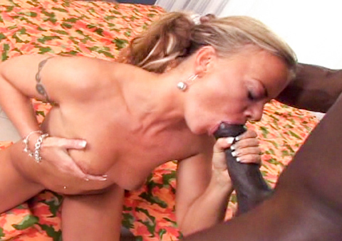 horny blonde babe sucks his big black cock dry on the bed
