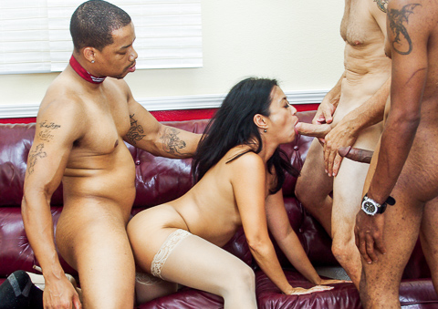 Horny Asian MILF Lucky Starr is fucked by three wild cocks!