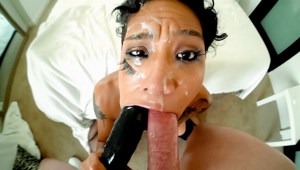 Sloppy messy blowjob and cum play from kwaii_girl