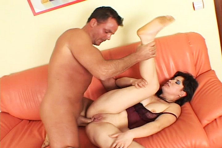 Sexy brunette being fucked hard on couch and loving it