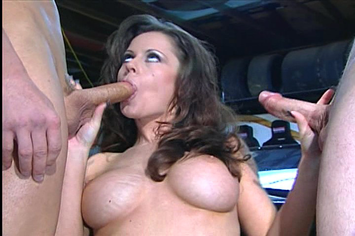 Slutty dark babe Gets pumped In Garage By Peter North & 2Men