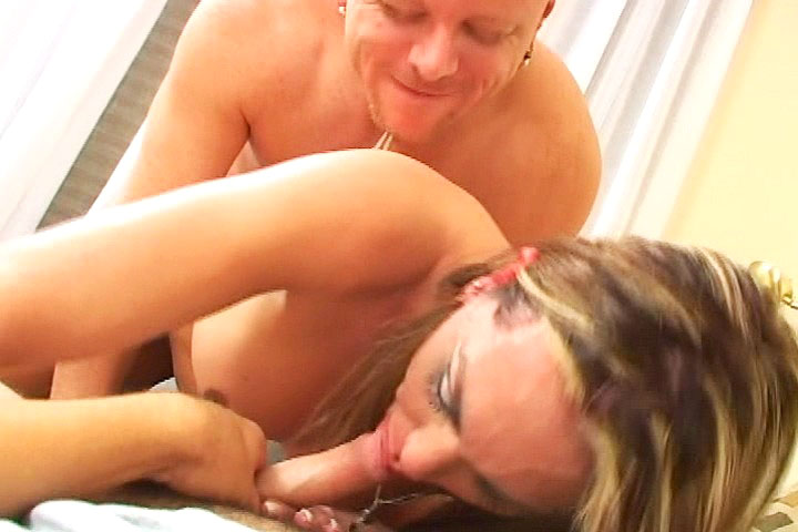 Very horny ladyboy fucks and sucks 2 men in some hotel room