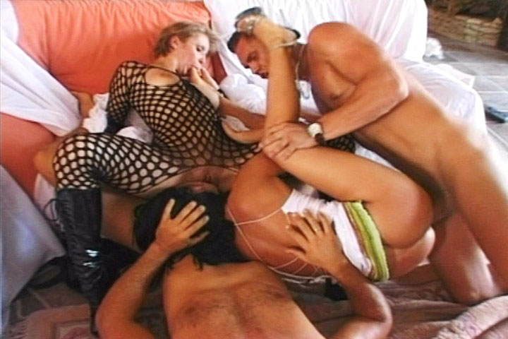 Naughty sweethearts in brutal foursome after enjoying a strap-on