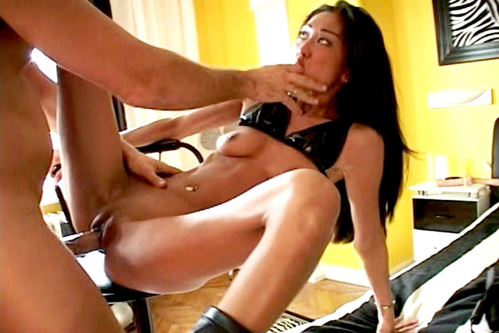 Beautiful asian in leather & her friend trying a frenetic 3some