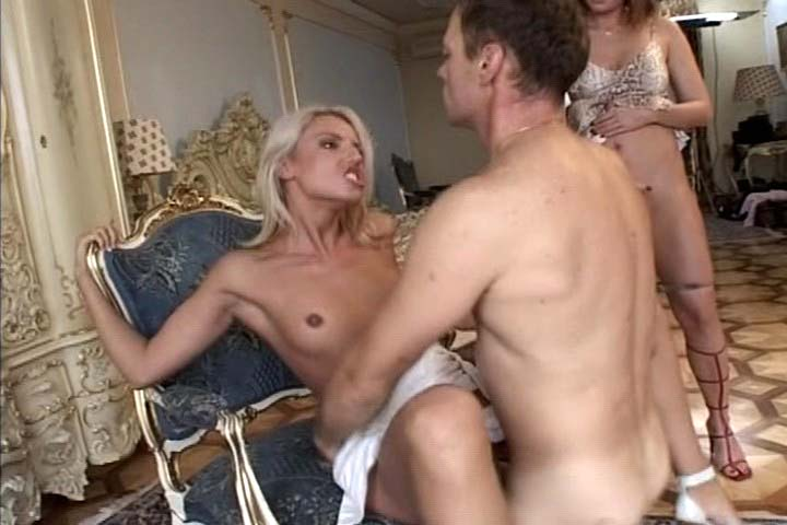 Rocco fucking in a reverse gangbang with load of broads
