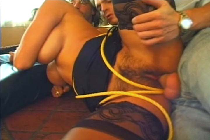 Slave girl gets gang banged while she tied up by 3 dudes