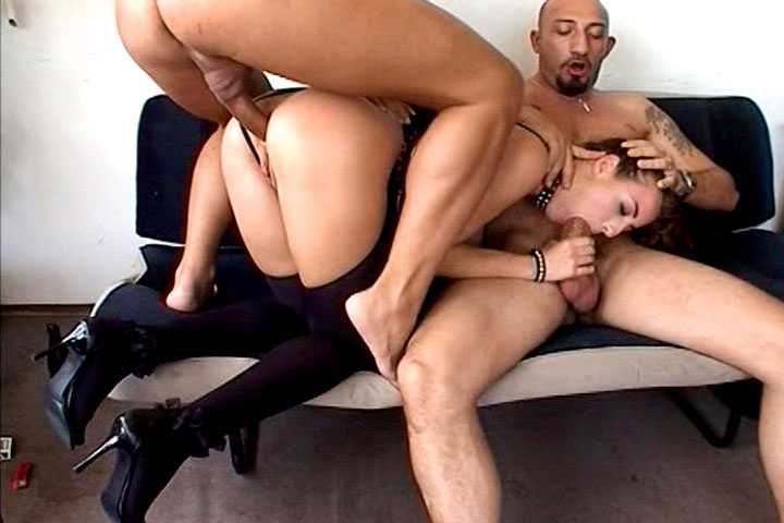 This slutty girl loves to be fucked by 2 hard cocked dudes