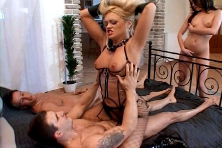Two naughty chicks sharing two horny men in hot sex action!