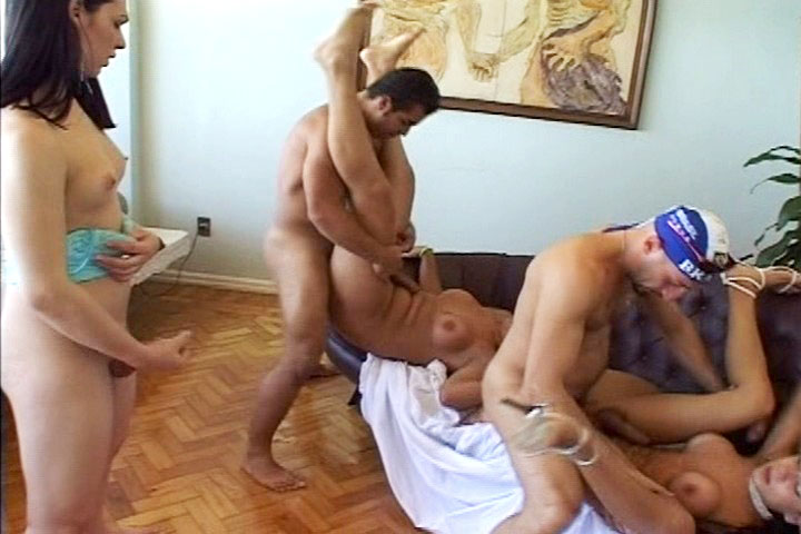 Ladyboys having fun with 2 curious guy who want to fuck them