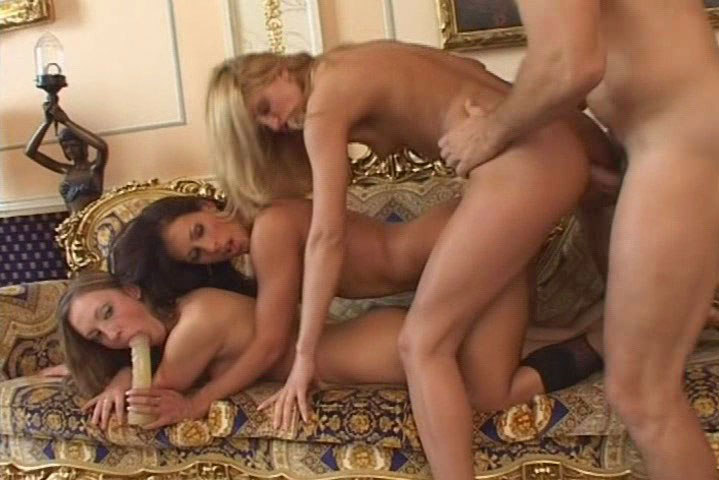 Rocco gets nasty in the house with a 3 hot babes sandwich!