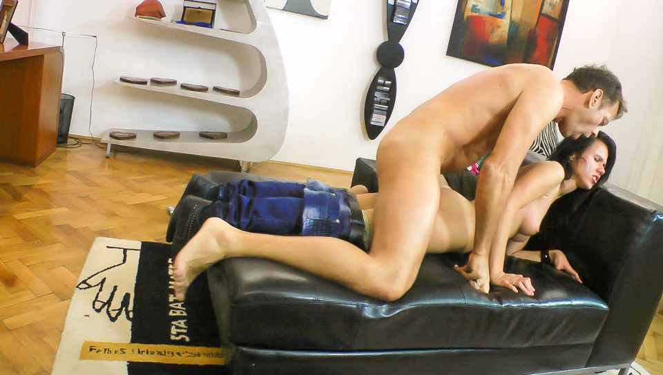 Petite Hungarian babe takes a ride on Rocco's massive cock !
