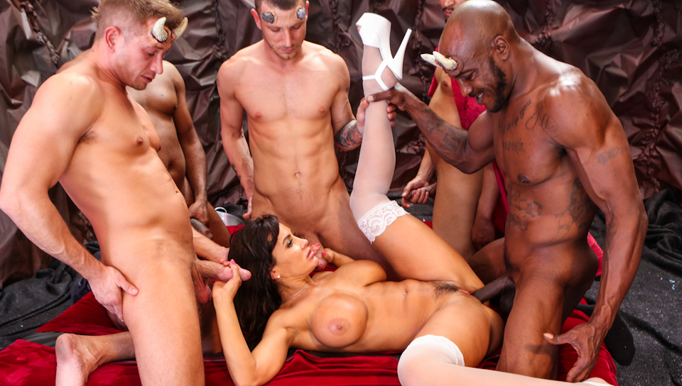 Horny Milf gets her pussy fucked hard by a bunch of demons