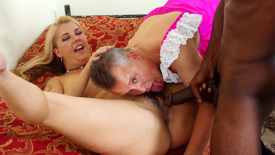 She shows her wimp husband what a real big black cock is