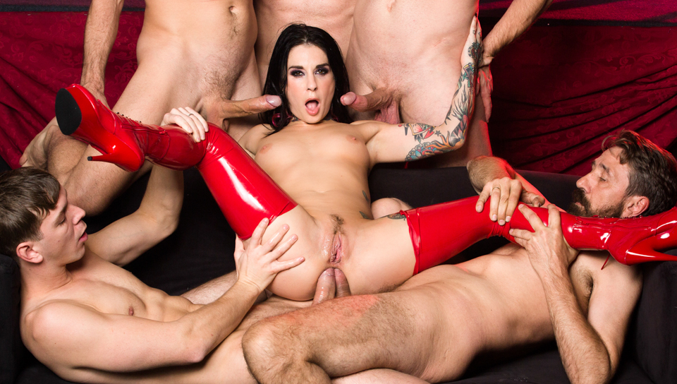 Smoking hot Joanna Angel fucked hard in ass by 5 big dicks