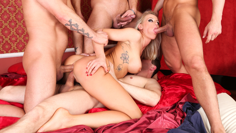 Hot hardcore scene with bondage, double-penetration & more.