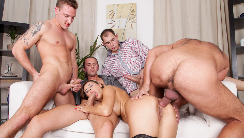 Hot brunette Billy Star is getting fucked hard by 4 cocks!
