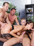 4 on 1 gang bangs 02. Hot and horny brunette Simone Style is