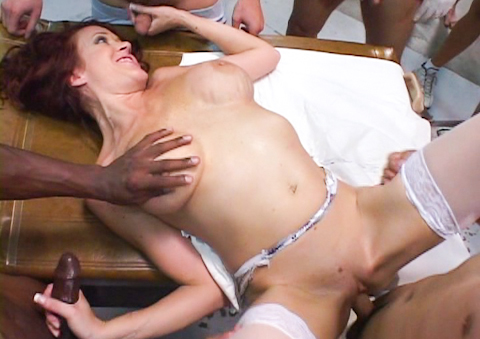 Whorish nurse collects cum samples with her mouth and pussy.