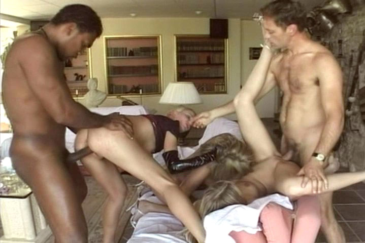 Rocco & cie get hard &  nasty with 3 hot spanking blondes