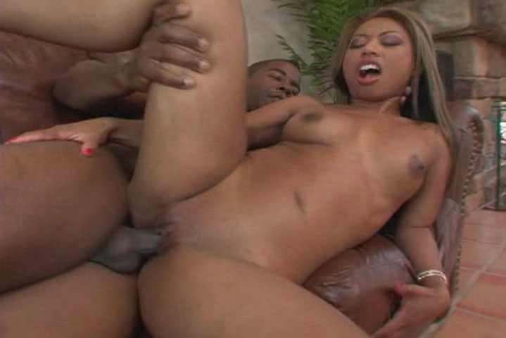 Dark asian girl gets her pussy fucked by some big black cock