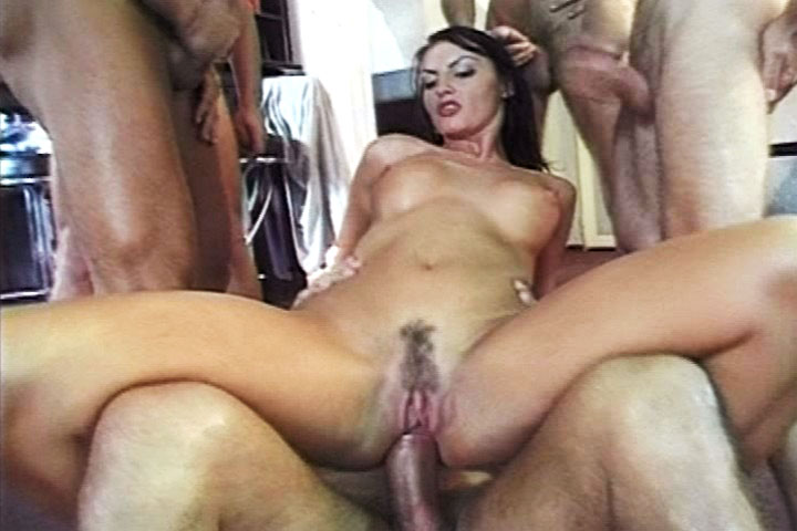 Amazing anal gangbang for this georgeous cum lover in here
