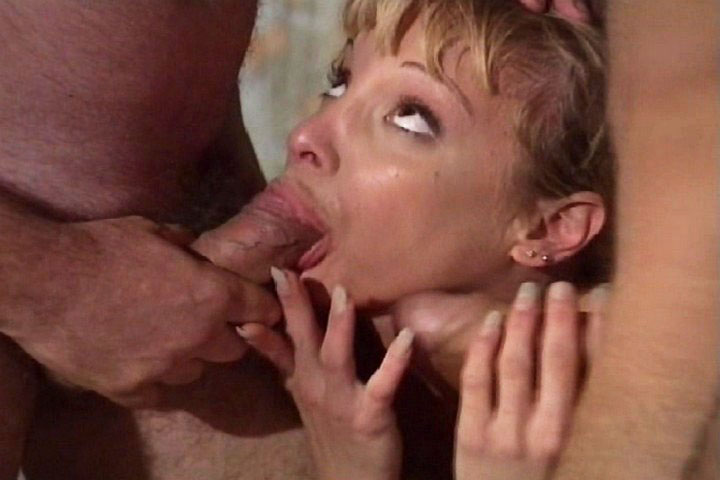 Slutty blonde sucking dicks and loving hot cum on her face