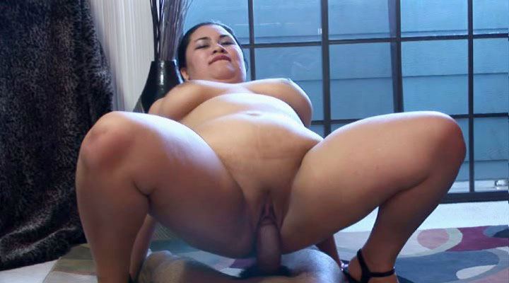 Big fat asian babe gets a good big black cock fuck!