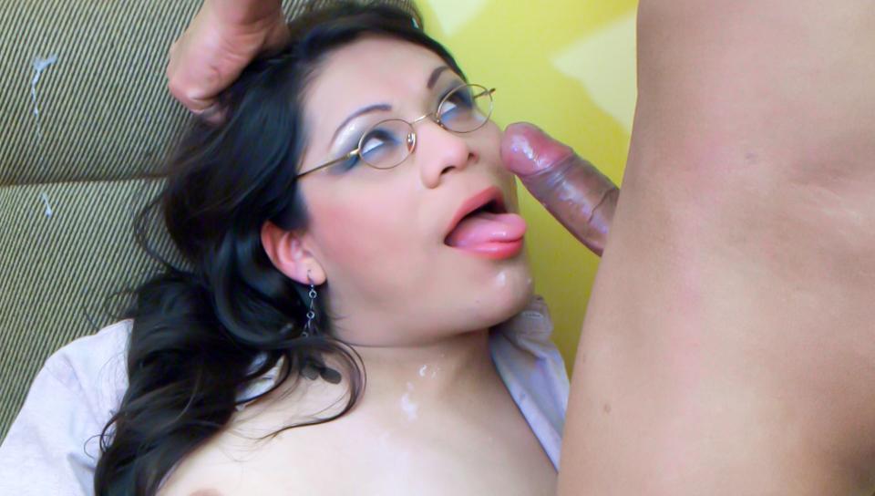 Tranny star Sayuri deep throats her Latin lovers big dick