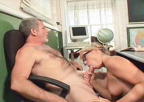 Bimbo blonde student gets teacher to dick her on the desk !