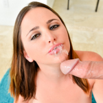 Slutty Hope sucks out every drop off cum out of a stiff cock