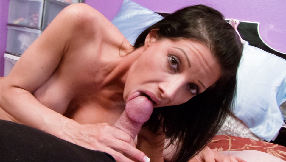 Nasty babe get her mouth filled with hard cock and warm cum