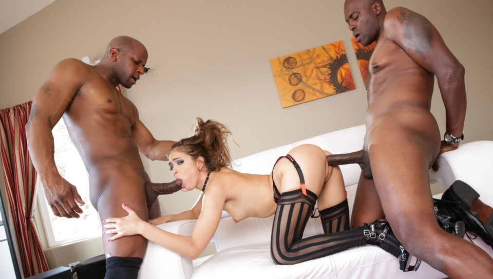 Riley gets down on 2 bros in hard pounding interracial scene