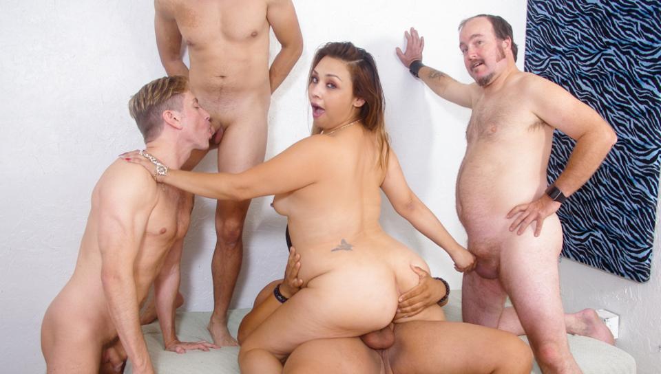 Curvy Audrey Blue fucks her husbands friend as he sucks