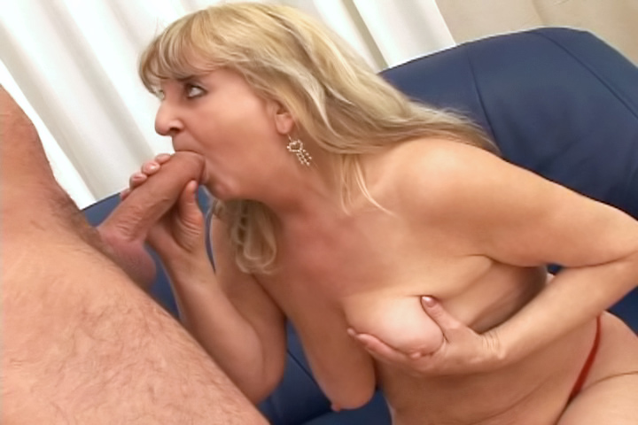 Hot blonde granny enjoys getting fucked by a younger guy!